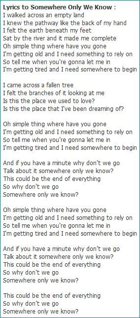Somewhere Only We Know Lyrics Google Search Fave Lyrics Song