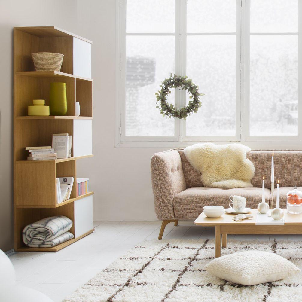 Ivy Bibliotheque Haute En Chene A Portes Coulissantes Blanches Mobilier De Salon Decoration Maison Porte Coulissante