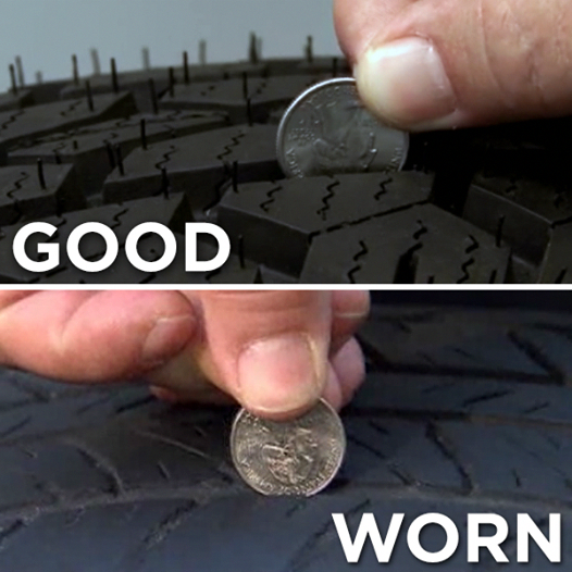 Tires Good Lessen Your Chance Of A Blowout Check Your Tires Tread Depth Using A Quarter Now Tire Safety How To Clean Headlights Repair And Maintenance