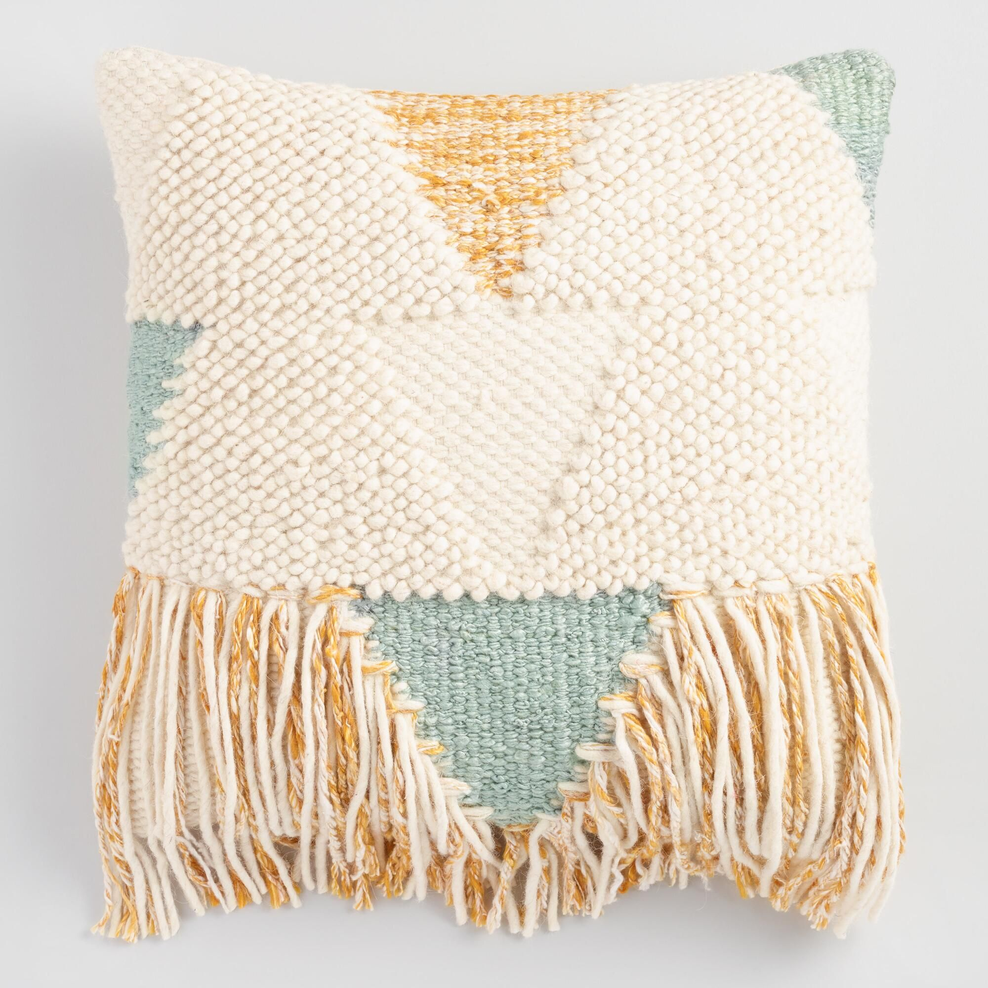 this exquisite throw pillow exudes boho ruginspired style with  - this exquisite throw pillow exudes boho ruginspired style with texturedyarn weaving in a
