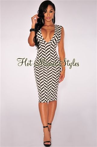 93744e97b21 Black Off White Chevron Print Open Back Dress in 2019