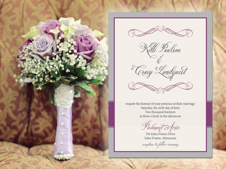 Pink Navy Purple Burgundy Elegant Wedding Invitations