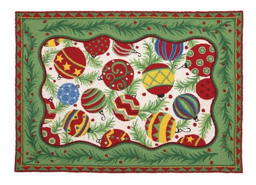 Christmas Ornaments Hooked Rug Sally Eckman Roberts Handicraft Home Linen