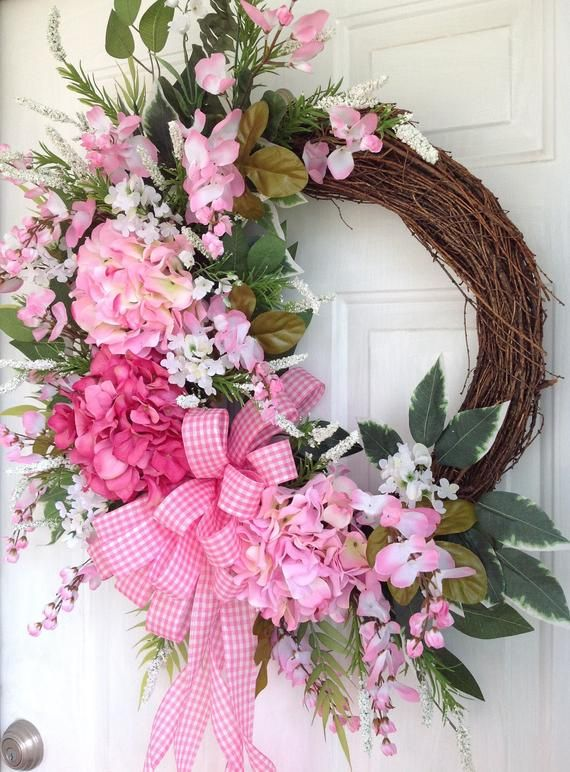 Housewarming Gift Spring and Summer Pink Floral Mason Jar Wreath for Front Door Everyday Wreath New Home Gift