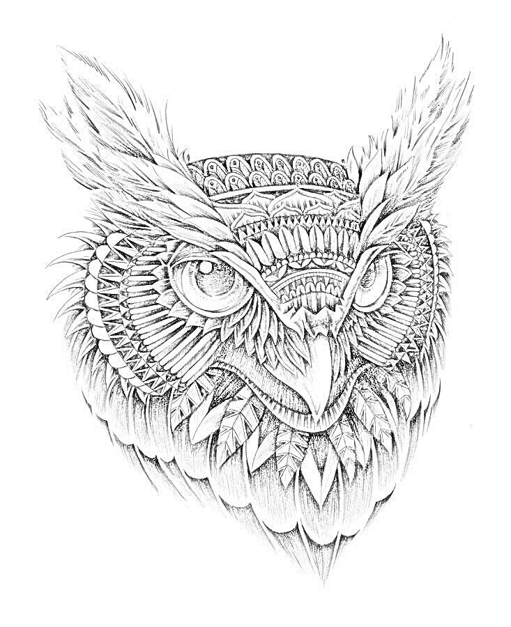 tattoo owl coloring pages - photo#30