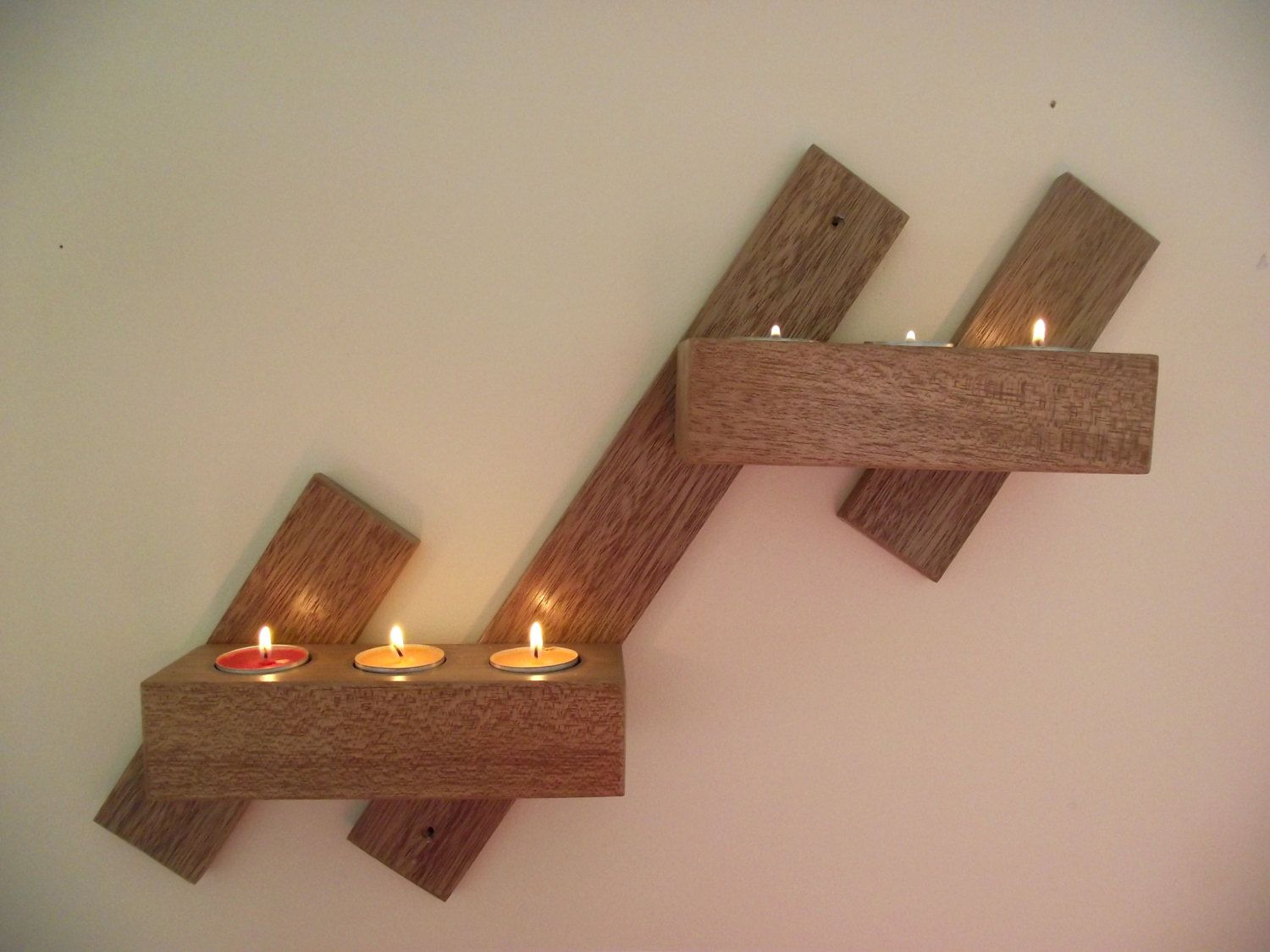 Wall Mahogany Or Oak Candle Holder Wall Mounted Wooden Candle