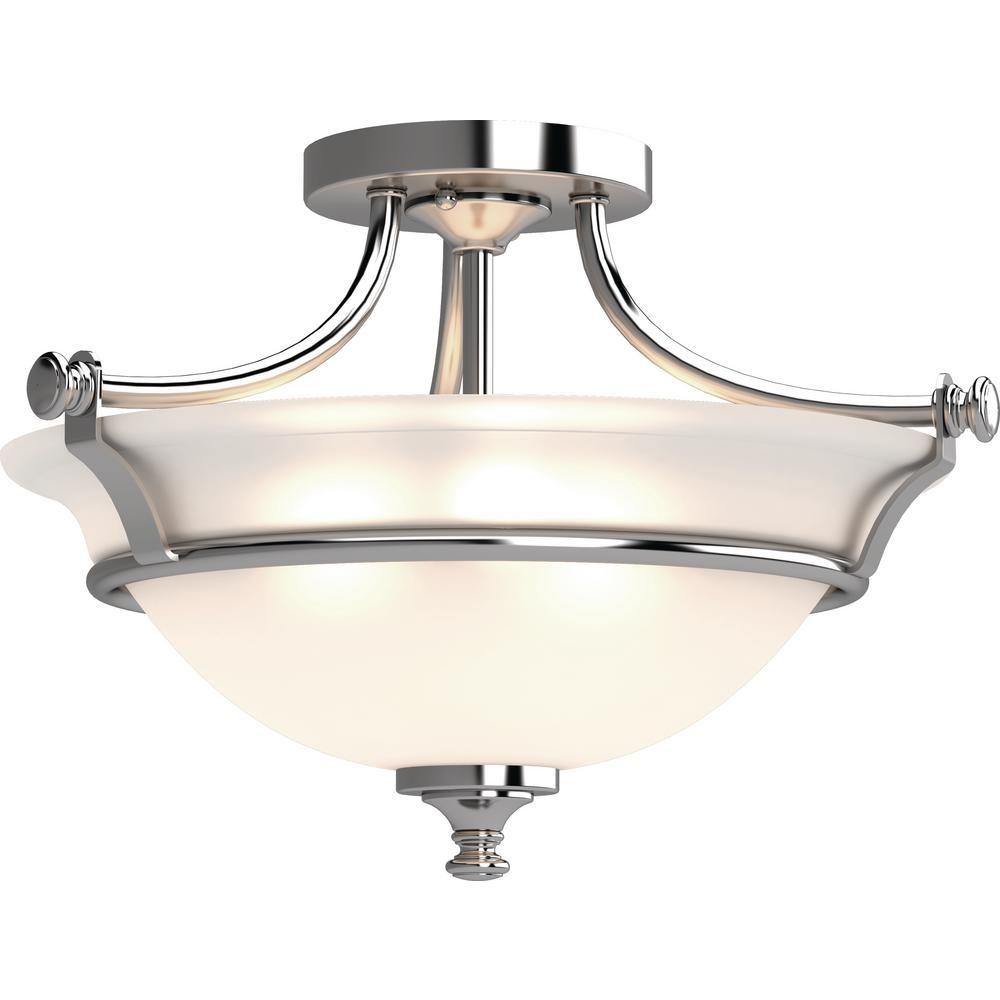 Volume Lighting Tes 2 Light Chrome Indoor Semi Flush Mount Ceiling