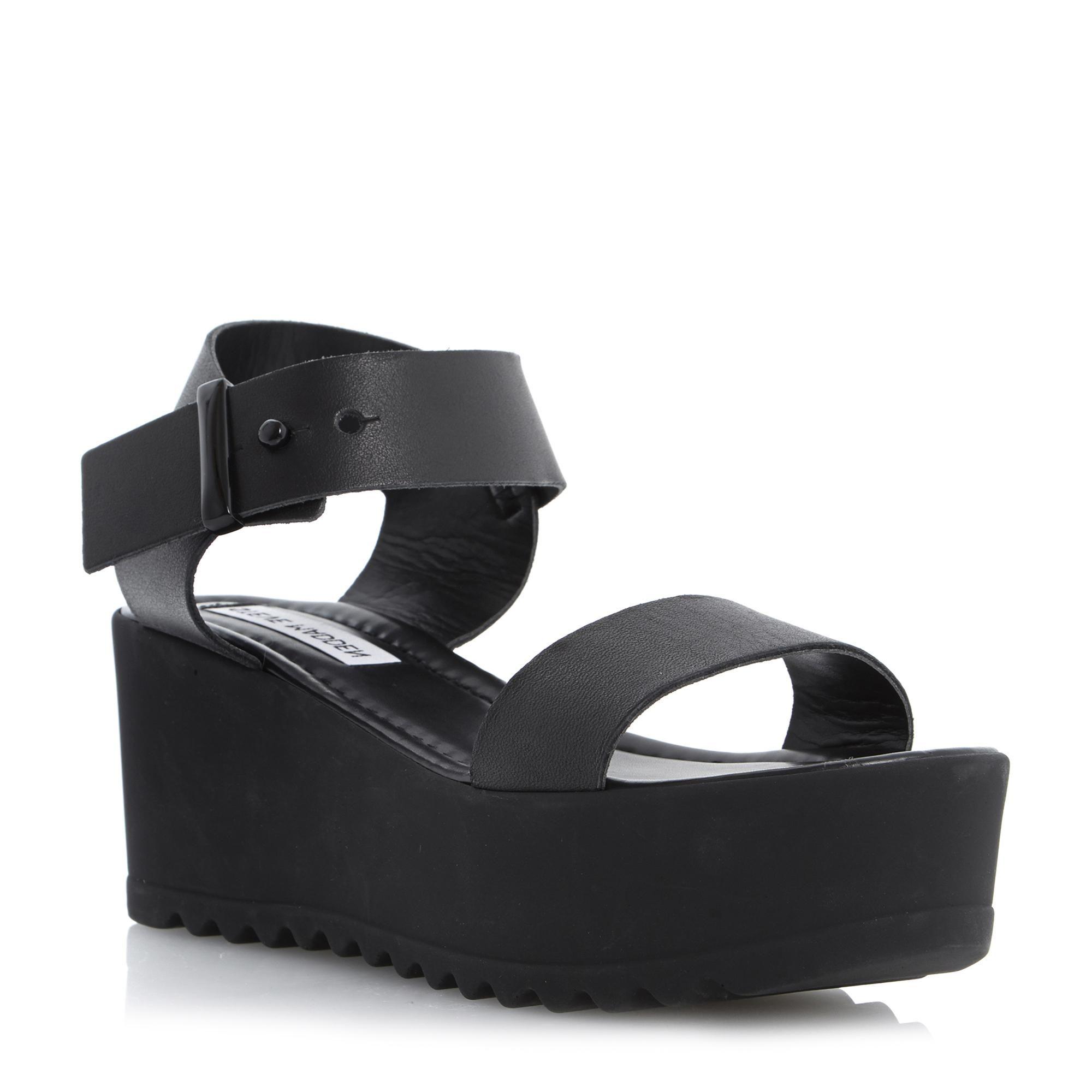 d8454929f14 STEVE MADDEN SURFSIDE - Leather Flatform Wedge Sandal - black
