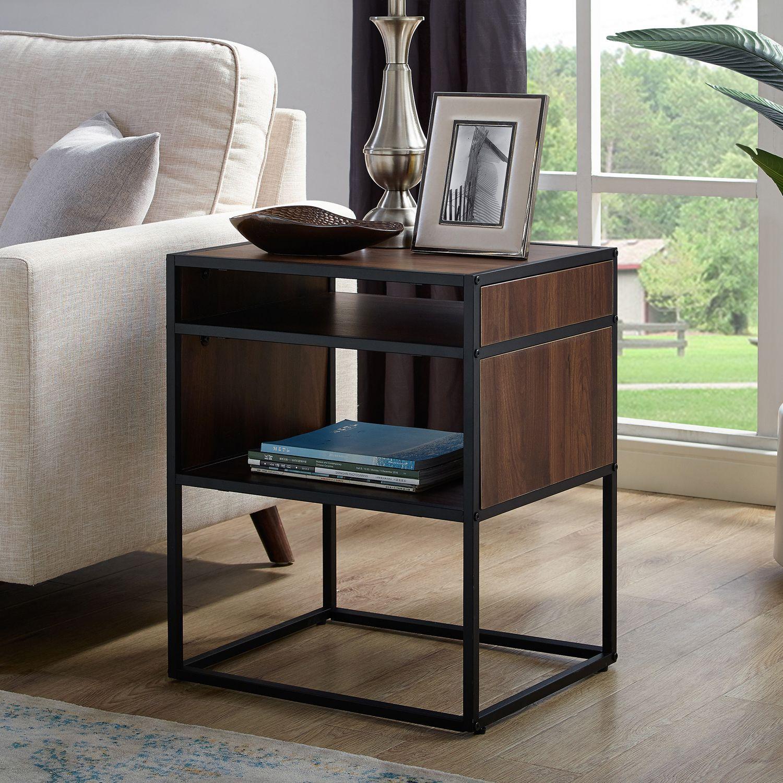 Dark Walnut Metal Wood Side Table With Storage Shelf Side