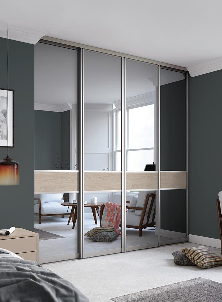 Signature 3 panel Fineline Grey Mirror glass / Cape Elm with a Nickle frame & Signature: 3 panel Fineline Grey Mirror glass / Cape Elm with a ...