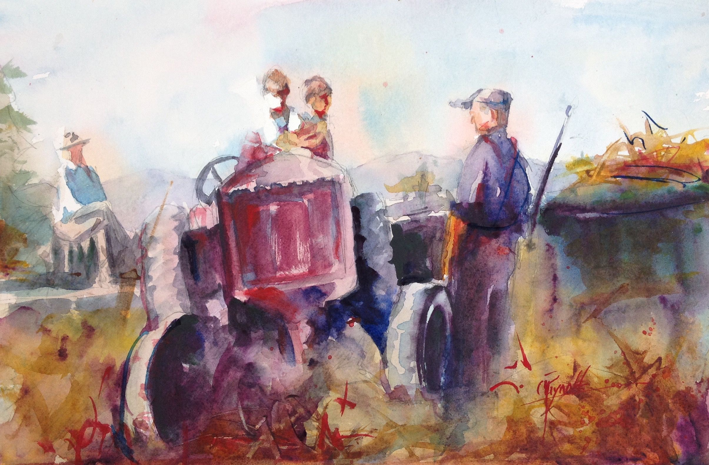Making Hay Sold 6 X12 Watercolor On Hot Press Using My