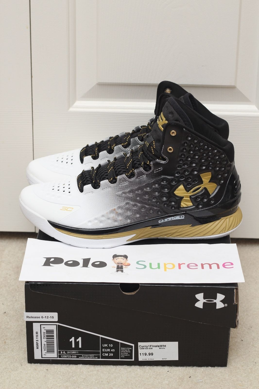 best service 5d279 14771 Under Armour UA Curry One 1 MVP Home White Gold Black Dub Nation Sz8 13 on  Hand   eBay
