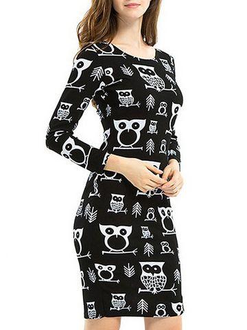 b2e1ae1fdecb0 إشتري فستان قصير و ضيق مقاس كبير ، بأكمام طويلة و نمط مطبع   فساتين نسائية