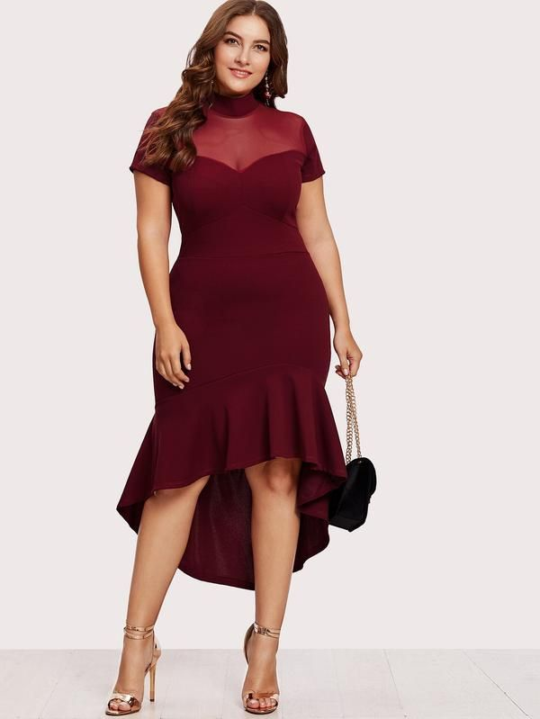 50b5f93ffb Plus Size Party Dress With Mesh Insert Frill Dip Hem Dress In Red