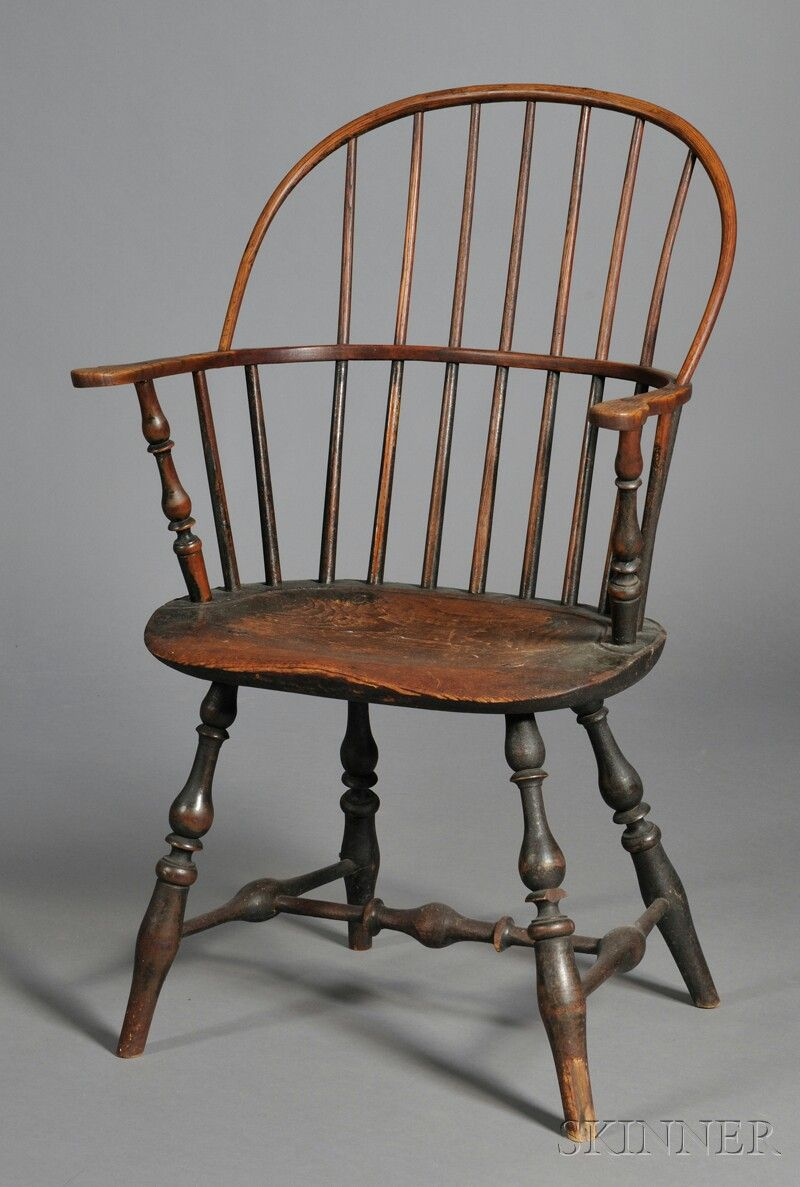 Dark Brown Painted Sack Back Windsor Chair Southeastern New England Late 18th Century Worn