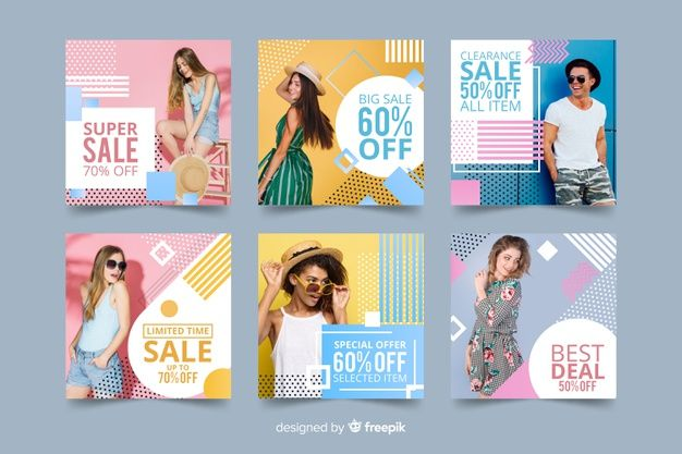 Fashion Sale Banner Collection With Photo Free Vector Sale Banner Instagram Design Vector Free