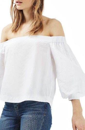d1efd095daf5b Free shipping and returns on Topshop Puff Sleeve Off the Shoulder Top at  Nordstrom.com. An open-shoulder neckline and billowed sleeves turn a crisp  ...