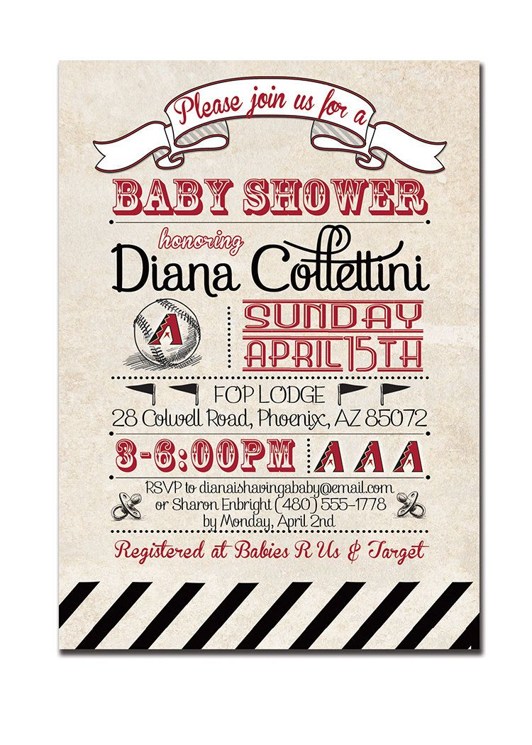 Arizona Diamondbacks Baby Shower Invitation Baseball Invitation ...