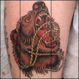 Angry bear tattoo
