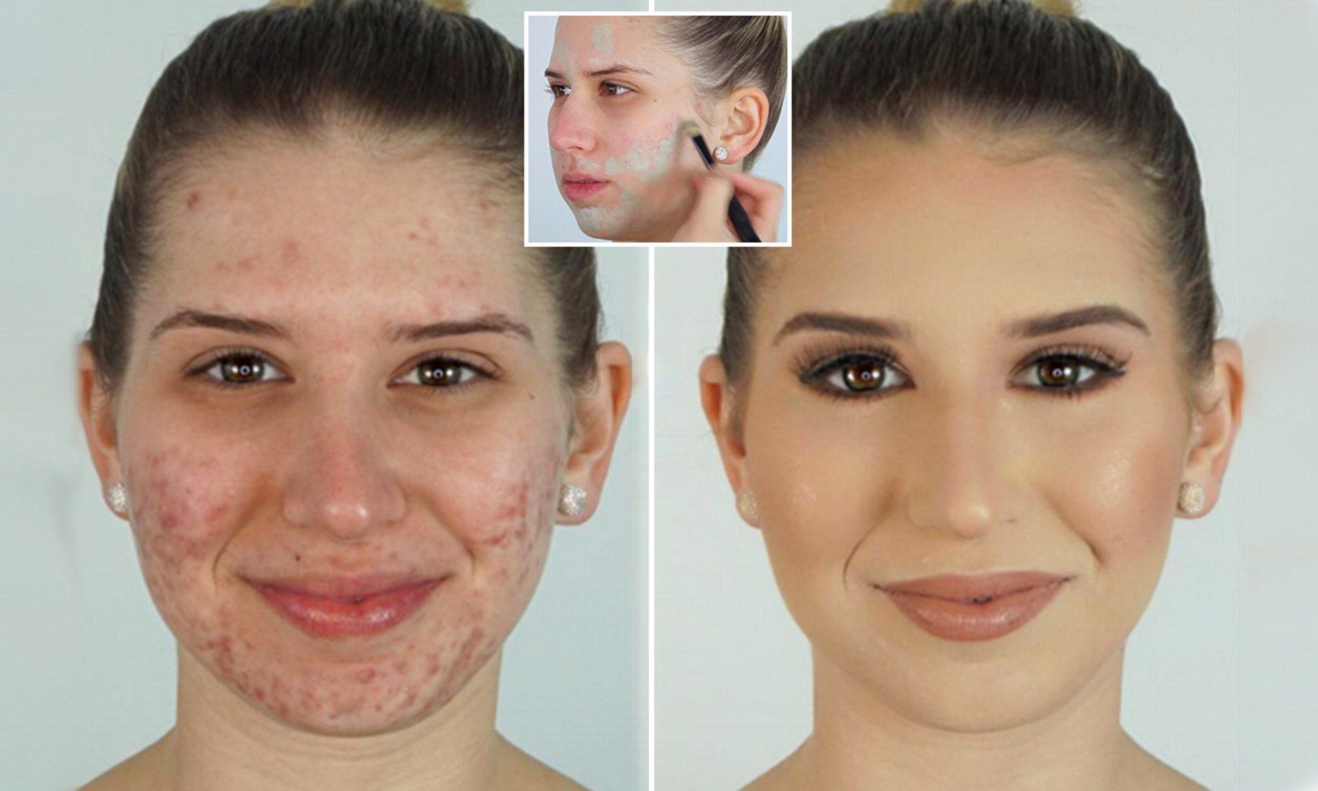 Make up artist covers acne using foundation and GREEN
