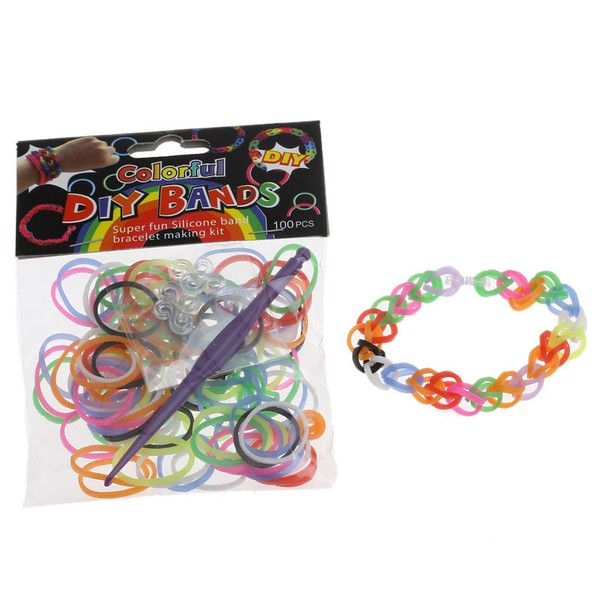 36798cb7 Loom Band Refill Pack - 100 Bands - MIXED COLOUR - Includes Loom Tool and S