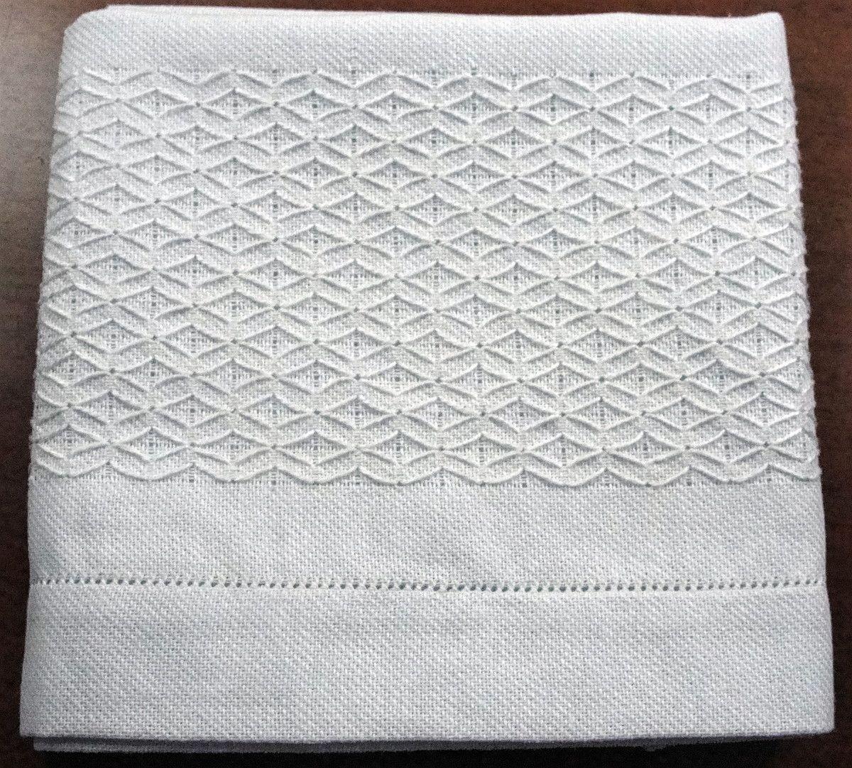 Pano de prato branco com bordado falso crivo e barrado em ajour. Simples e sofisticado!    Sacaria 100% algodão. Ótima absorção.    Aceitamos encomendas.