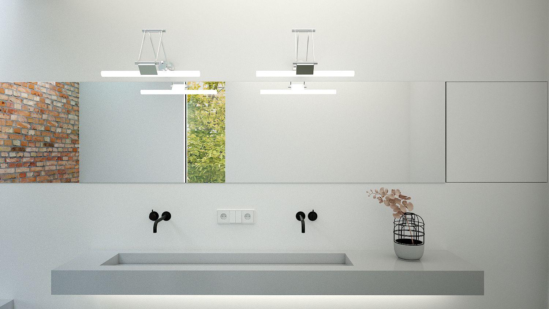 Hoek Wasbak Badkamer : Betonnen wasbak met vola kranen onder lange spiegel met