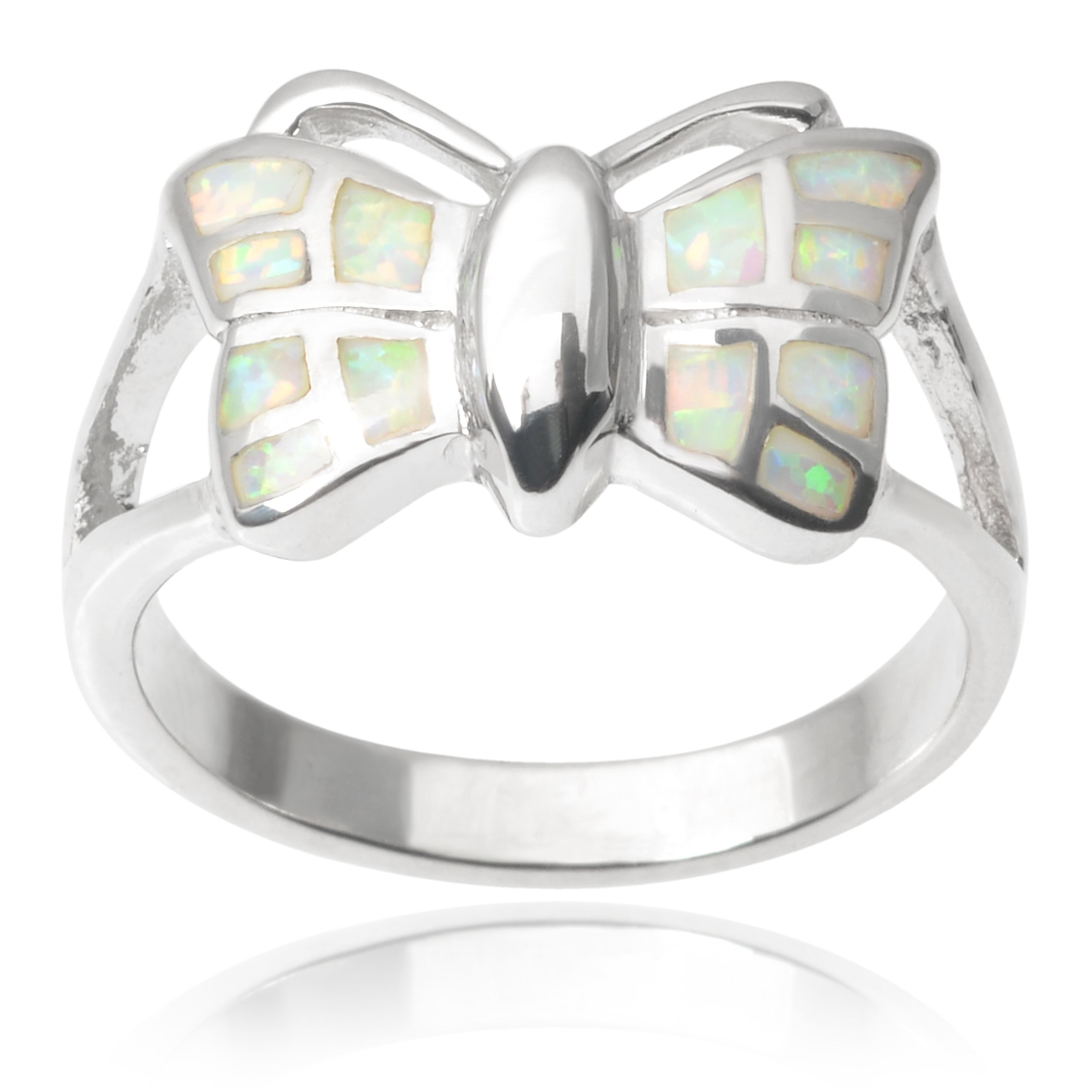 Journee Collection Sterling Silver Faux Opal Butterfly Ring 9