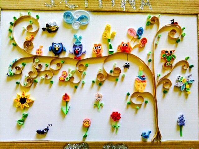 Quilling birthday wall art (Owl, tree, ant, different types of ...