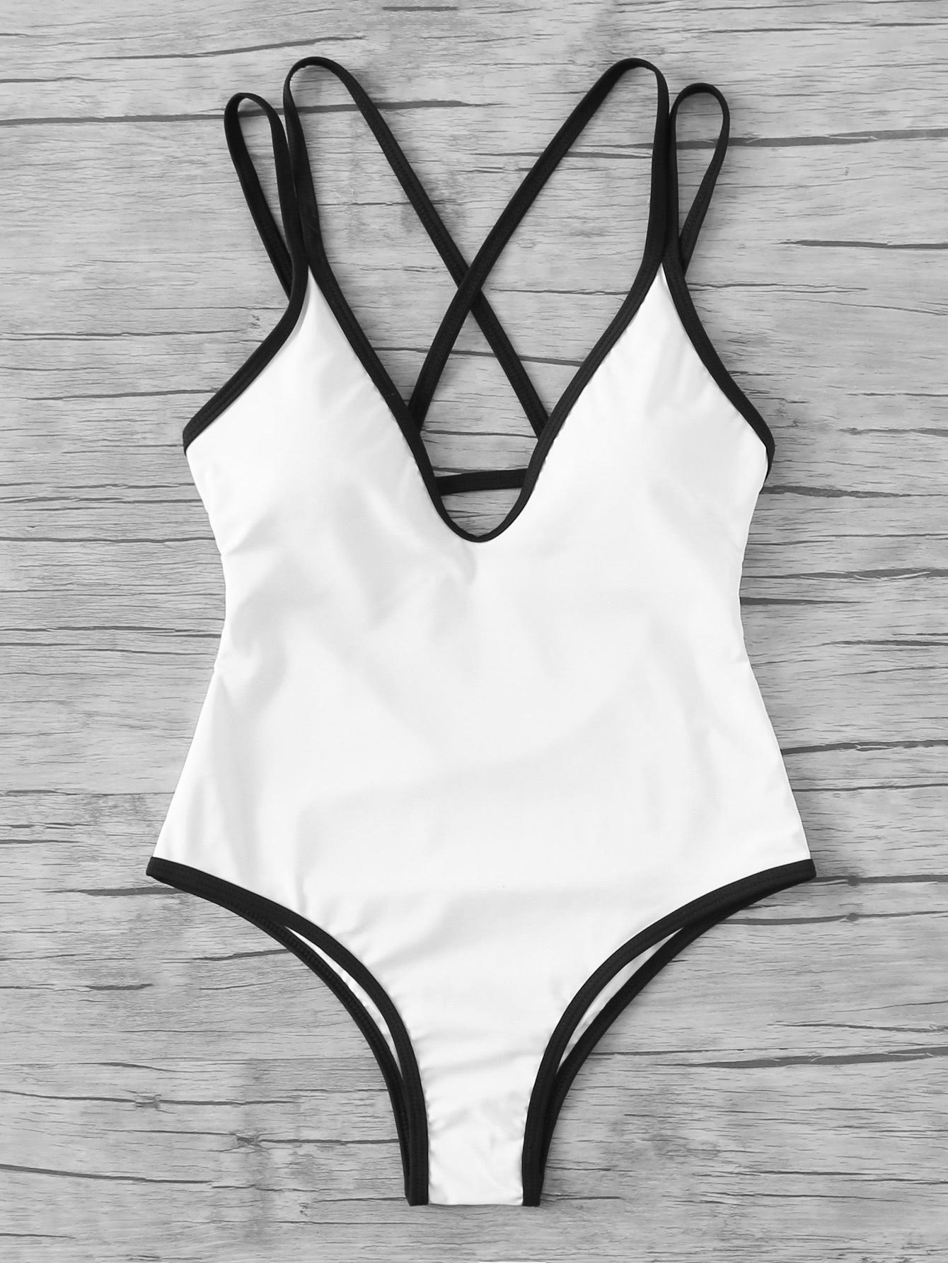 a82cb5a4df  SheIn -  SheIn Contrast Trim Cut Out Back Swimsuit - AdoreWe.com