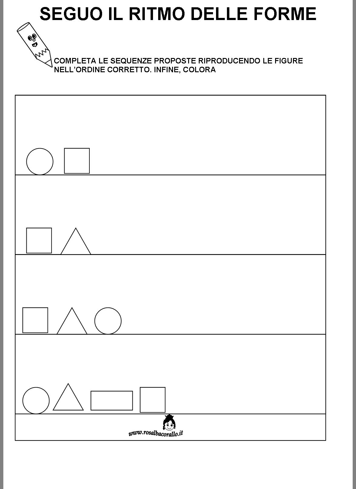 Schede didattiche figure geometriche per bambini di 4 5 for Schede didattiche autismo