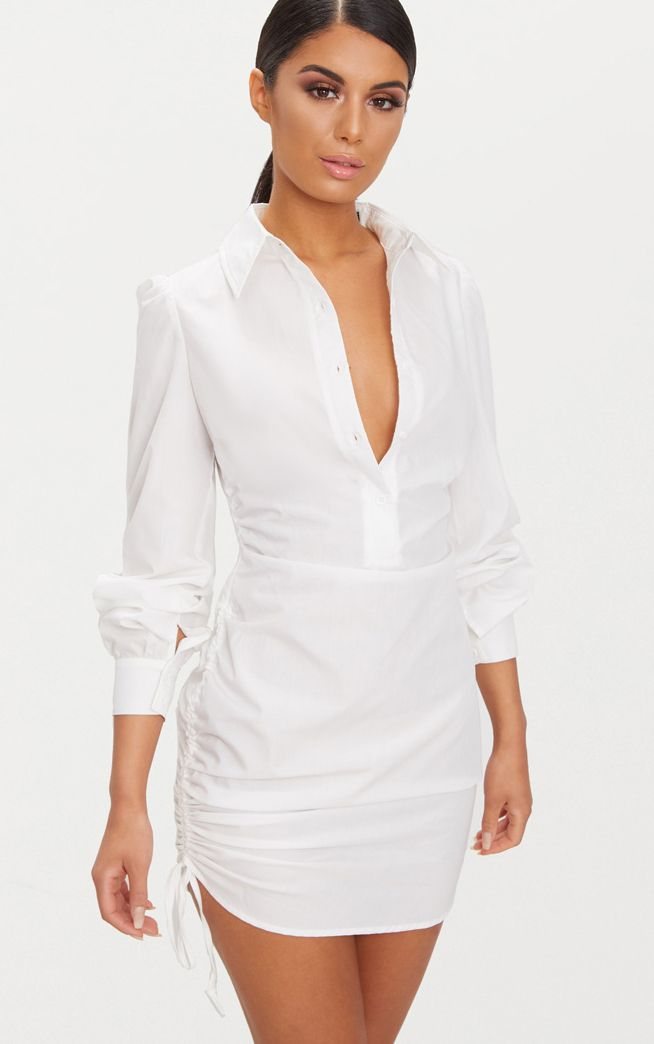 Ruched Side Fitted Shirt Dress | White shirt dress, Women dress ...