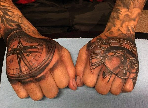 Top 63 Compass Tattoo Ideas 2020 Inspiration Guide Compass Tattoo Hand Tattoos Clock Tattoo Design