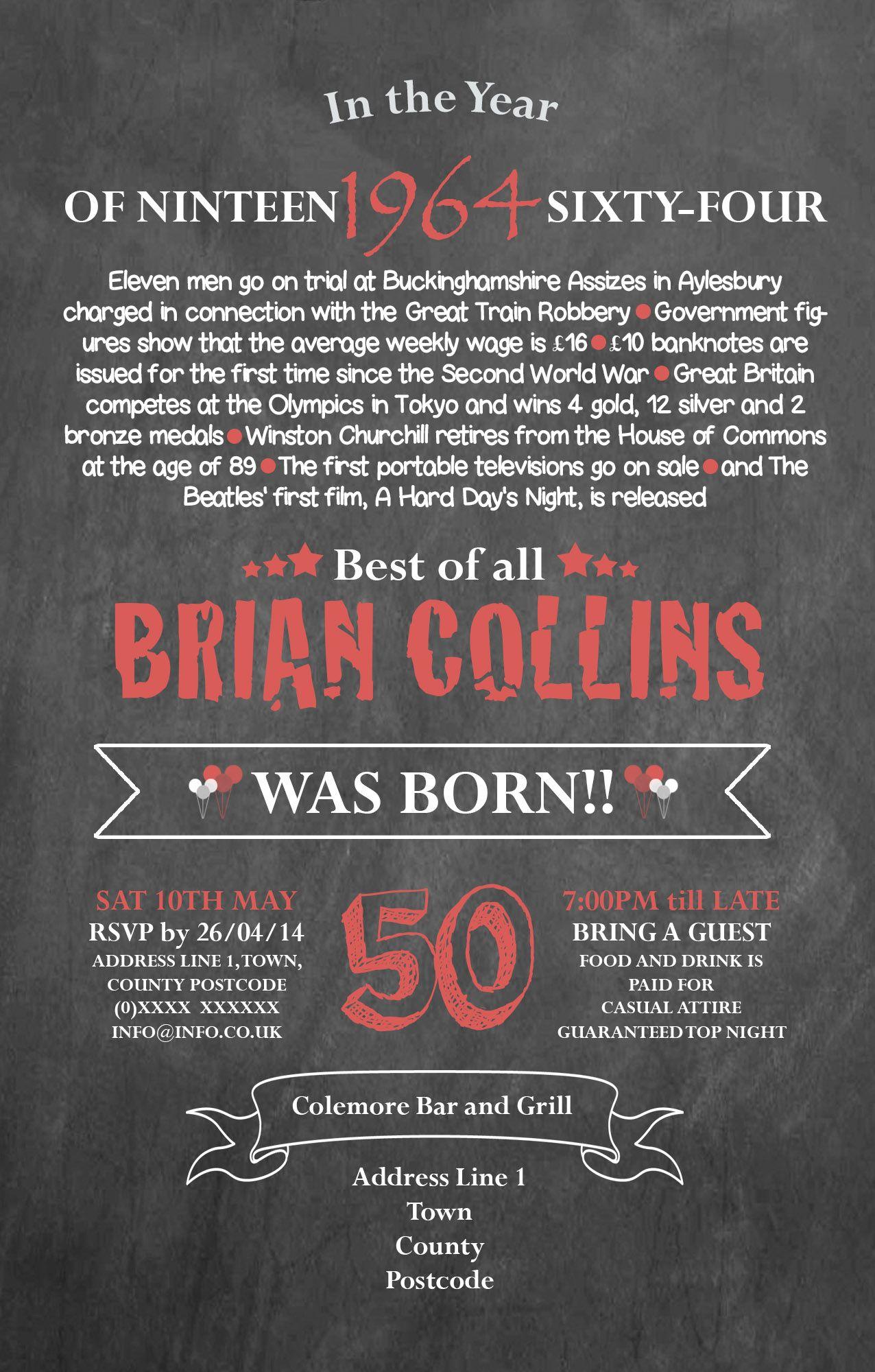 50th Birthday Invitation designed by me at Nic\'s Designs. | Invites ...