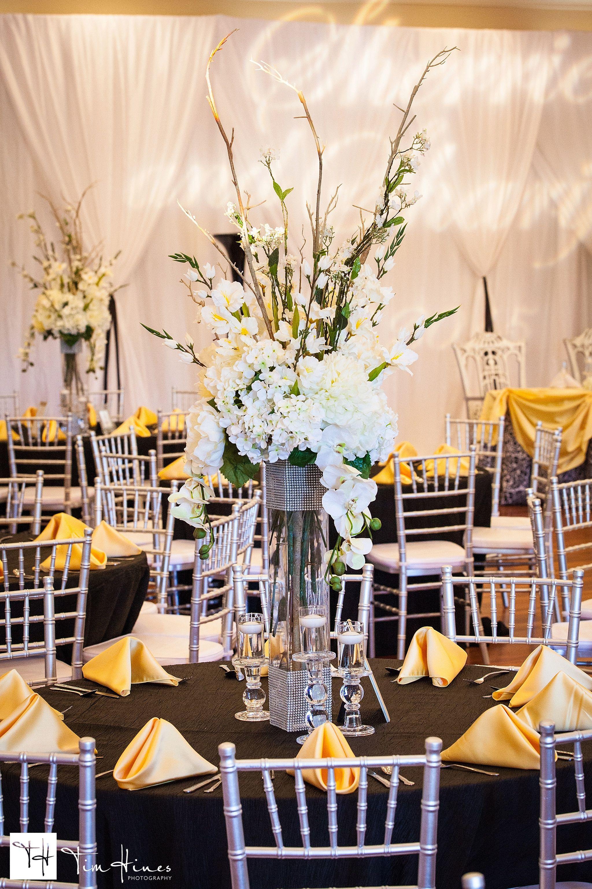 Black And Yellow Wedding White Centerpieces Black White Silver