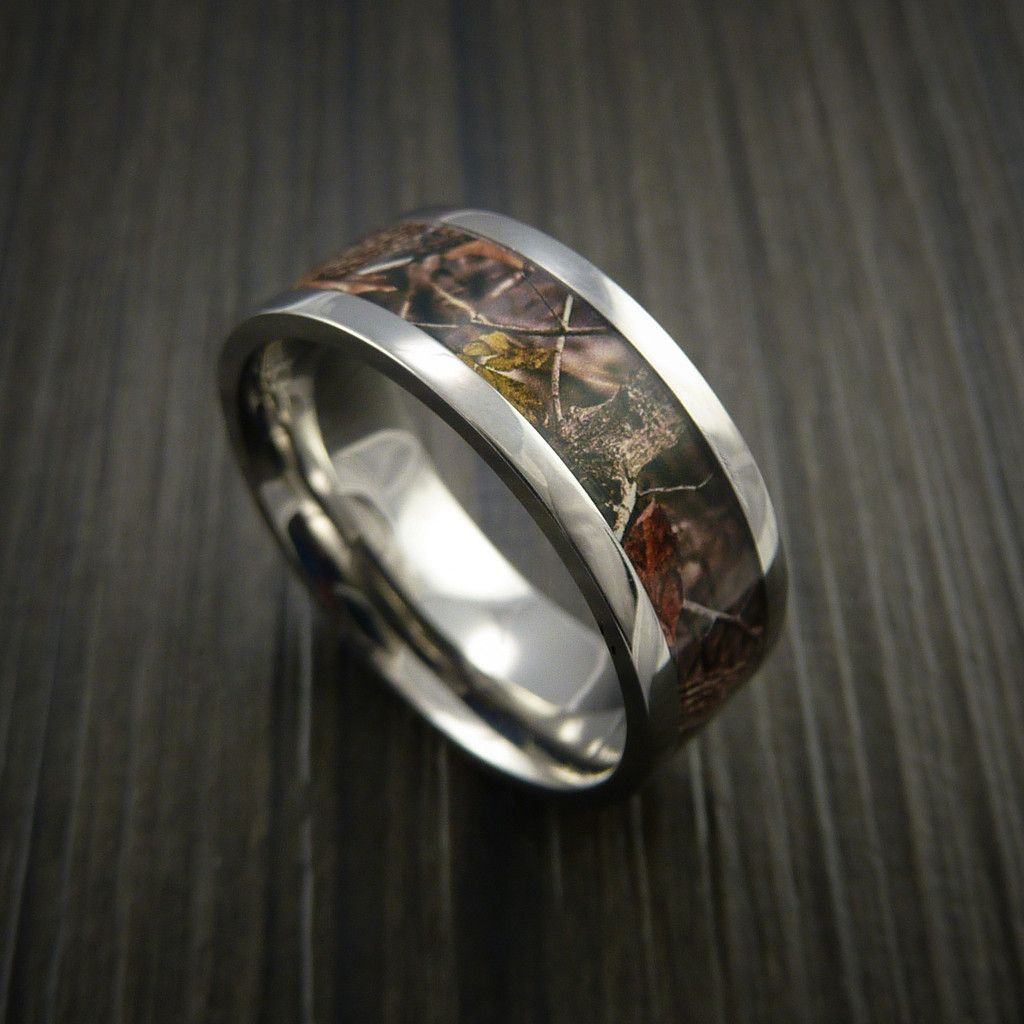 Titanium Ring with Camo Inlay Custom Made Wedding Band