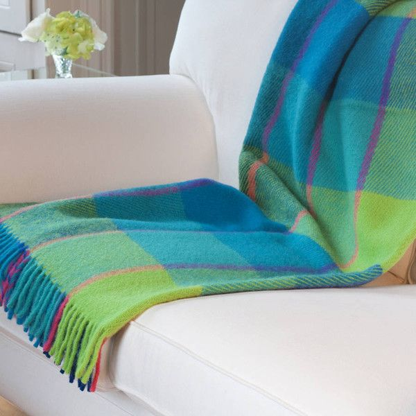 Jodie Byrne Check Wool Throw In Turquoise And Lime Green (€115) ❤ liked on Polyvore featuring home, bed & bath, bedding, blankets, wool throw, turquoise throw, turquoise bedding, wool bedding и lime green bedding