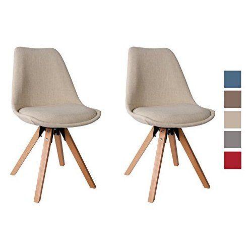 chaise salle manger lot de 2 en tissu crme slection de couleur design retro chaise - Chaises Scandinaves Couleur