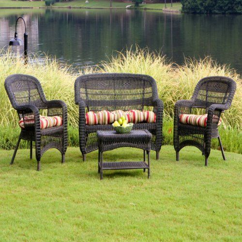 4 piece portside conversation set dark roast wicker with eastbay pompeii fabric garden furniture - Garden Furniture East Bay