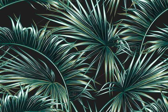 Tropical Palm Leaves Pattern By Tropicana On Creativemarket