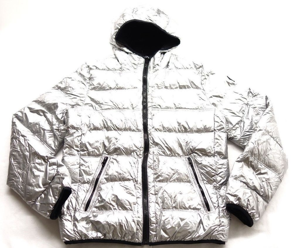 ba36b86091eb New American Eagle AEO Womens 9549 Metallic Silver Duck Down Hooded ...
