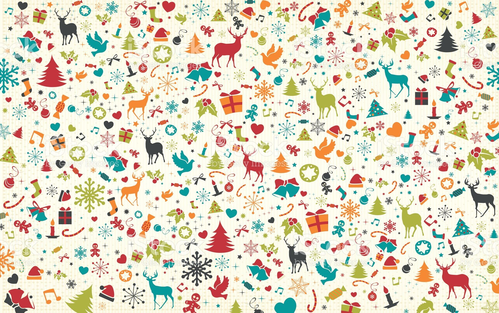Vector pattern background contains christmas symbols and