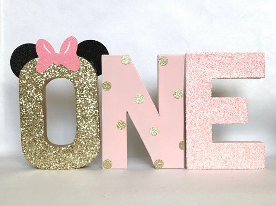 Minnie Mouse Glitter Stand Up ONE Letter Sign -First Birthday -Photo Prop -Party Decor -Paper Mache Letters -Winter ONEderland-Decorations