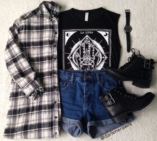 Cute, black tank with high waisted jean shorts, flannel, and black combat boots