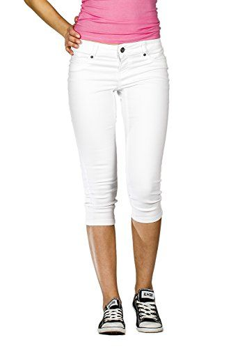 7aea48853cd8 Suko Jeans for Women Powerstretch 5Pocket Denim Capri Jeans 17472 WHITE 8 *  Click image for more details.