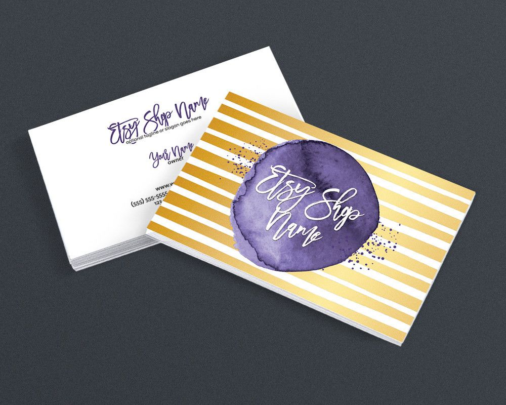 2 Sided Business Card Design - Purple and Gold Business Card Design ...