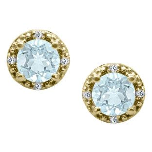 Round Cut Aquamarine Birthstone Diamond Yellow Gold Stud Earrings Available Exclusively At Gemologica
