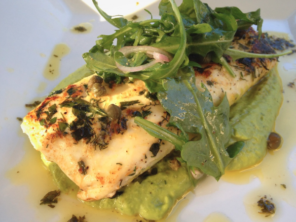 Herb Crusted Halibut with Minted Sweet Pea Purée on http://rickbakas.com