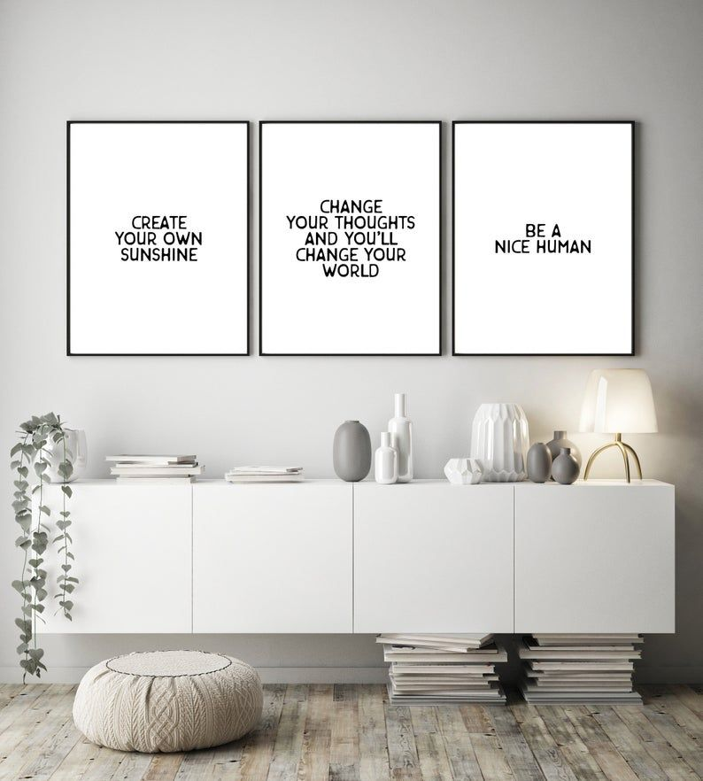 Inspirational Quotes Printable Wall Art Set Of 3 Files Etsy In 2021 Home Office Decor Wall Printables Office Decor