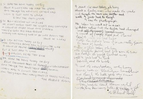 "John Lennon's handwritten lyrics for ""A Day in the Life.""  www.artexperiencenyc.com"